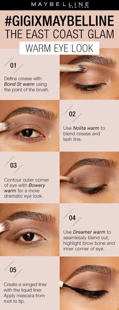 Get this all matte warm toned eyeshadow look using the gigixmaybelline Eye Contour Kit in 'Warm'. First, define the crease with Bond St. Warm using the point of the brush. Next, use Nolita Warm to blend crease and lash line. Contour outer corner or the eye with Bowery Warm for a more dramatic eye look. Use Dreamer Warm to blend out and highlighter. Lastly, create a winged liner look with liquid liner. Exclusively at Ulta Beauty!