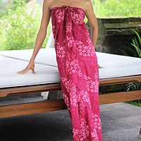Woven of cool cotton, this full length #sarong highlights the beauty of hand-stamped batik