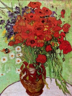 """Vase with Red Poppies and Daisies, 1890. Van Gogh wrote to Horace Livens """"I have lacked money for paying models and I had entirely given myself to figure painting but I have made a series of colour studies in painting simply flowers, red poppies, blue corn flowers, myosotys, white and rose roses, yellow chrysanthemums. Trying to render intense colour. I dare say are better in light and colour than those I did before. In colour seeking life the true drawing is modelling with colour."""""""