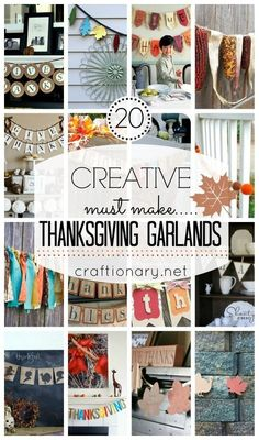 2014 must have Thanksgiving garlands - banner, burlap #2014 #Thanksgiving #Printable #Banner #Crafts