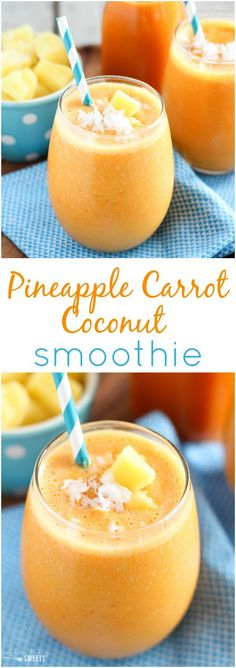 Pineapple Carrot Coconut Smoothie - A healthy smoothie made with carrot juice, pineapple, banana and coconut yogurt. Light, refreshing and filled with tropical flavors.