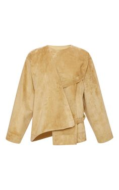 Gold Calf Suede Belted Jacket by Loewe for Preorder on Moda Operandi