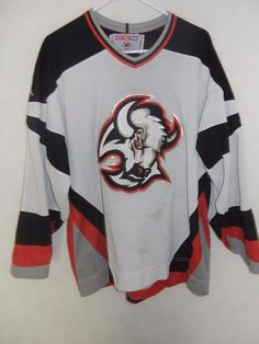ea87bfa04a4 Buffalo Sabres CCM Maska NHL air knit size large jersey white sewn red old  logo