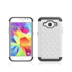 SAMSUNG GALAXY CORE PRIME/G360 WHITE/BLACK HYBRID BLING PLASTIC PHONE CASE COVE