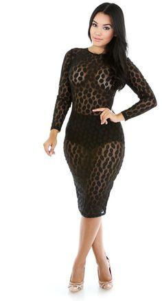 Sofia Illusion Dress- Black