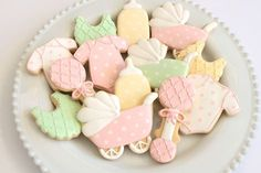 Pastel Baby Shower Cookies by Miss Biscuit Baby Cookies, Baby Shower Cookies, Decorating Supplies, Cookie Decorating, Welcome Baby, Biscuits, Baking, Pastel, Cookie Monster