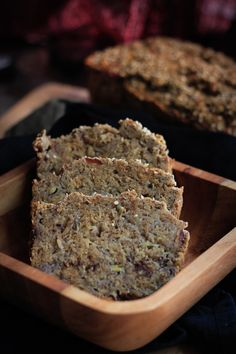 Healthy Banana Bread:  2 cups whole wheat flour  2 cups mashed banana (preferably overripe)  1 tsp baking powder  1/2 tsp baking soda  1/2 tsp salt  1/2 tsp cinnamon  1/4 cup finely chopped dates  2 tbsp flax seed powder + 6 tbsp water  1-2 tbsp sesame seeds