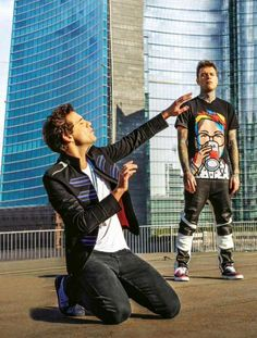 "Mika with Fedez on set ""Beautiful Disaster"" Video"