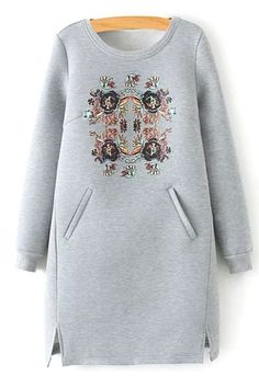 To find out about the Grey Round Neck Floral Pockets Split Dress at SHEIN, part of our latest Sweatshirts ready to shop online today! Trendy Fashion, Girl Fashion, Womens Fashion, Fashion Design, Modelos Plus Size, Mode Hijab, Sweatshirt Dress, Mode Inspiration, Gray Dress