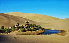 A small lake 2000 years old is making a wonderful oasis in the Gobi Desert. Oasis, Wonderful Places, Beautiful Places, Amazing Places, Amazing Things, Places To Travel, Places To See, Crescent Lake, China Travel Guide
