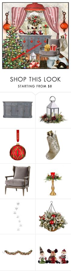 """CHRISTMAS DECORATIONS"" by din-sesantadue ❤ liked on Polyvore featuring interior, interiors, interior design, home, home decor, interior decorating, Frontgate, Waterford, Helen Moore and Improvements"