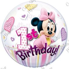 Baby Minnie Busta 1pz Bubble Balloons, Foil Balloons, Latex Balloons, Bubbles, Minnie Mouse 1st Birthday, Baby Mickey, Biodegradable Products, Cute Babies, Baby Boy