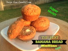 Here's a Banana Bread Muffin recipe that is SO MOIST and delicious that you will NEVER want to try another banana bread recipe again!