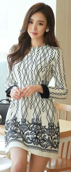StyleOnme_Antique Paisley Print Round Neck Dress #elegant #feminine #koreanfashion #dress #floral #paisley #kstyle #seoul