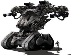 Tracked Terminator Hunter-Killer, used for area pacification and to knock down any standing structures. Operates in synchronicity with VTOL flying Hunter-Killers overhead to provide close air support as well as target acquisition and tracking. Military Robot, Military Weapons, Robot Concept Art, Weapon Concept Art, Science Fiction, Army Vehicles, Armored Vehicles, Killzone Shadow Fall, Terminator Movies