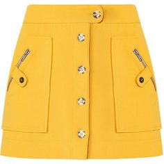 Monroe Cargo Skirt ($295) ❤ liked on Polyvore featuring skirts, bottoms, a-line skirt, yellow a line skirt, a line button skirt, cargo skirts and knee length a line skirt