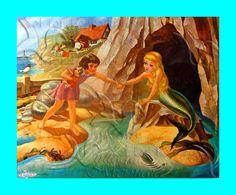 FABRIC BLOCK s474 Vintage The Little  Mermaid Fabric by wwwvintagemermaidcom, $7.00
