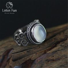 Lotus Fun Real 925 Sterling Silver Natural Chalcedony Stone Handmade Creative Designer Fine Jewelry Vintage Female Rings