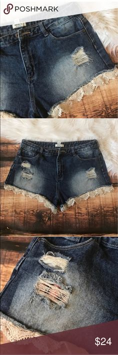 F21 Lace Trim Denim Shorts Crochet Jean Shorts The shorts have every single hot style that is in right now! Super cute lace edge Hem that will look good with any style!  They also have the destruct holes that are oh so popular. From forever 21 Forever 21 Shorts