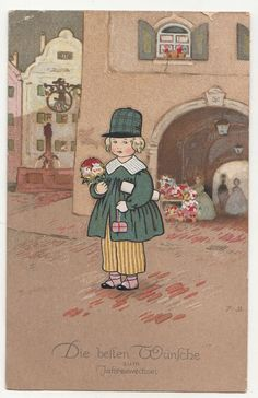 Frühe Fritz Baumgarten Ak 1920 Bube mit Geschenken Jahreswechsel Neujahr 1920 ! | eBay