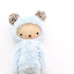 Kawaii Teddy Bear Plushie Baby Blue Minky Faux Fur Large