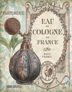 """Parfum en meer *Perfume & more~Poster """"Eau de Cologne de France""""~ Vintage Wine, Vintage Labels, Vintage Cards, Vintage Paper, Vintage Postcards, Album Vintage, French Vintage, Decoupage Vintage, Decoupage Paper"""