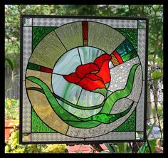 "Stained Glass Window Panel ""Fiery Poppy"""