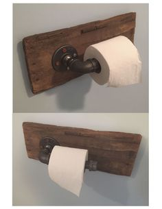 Rustic toilet paper holder made from reclaimed wood and gas pipe.