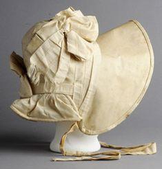 1835 buckram bonnet purchased at Mrs. [Photo courtesy of Old Sturbridge Village] Victorian Hats, Victorian Fashion, Vintage Fashion, Antique Clothing, Historical Clothing, European Clothing, Silk Bonnet, 19th Century Fashion, Flappers
