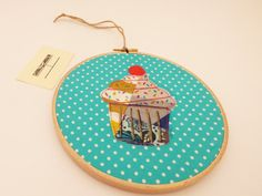 Patchwork Cupcake Embroidery Hoop Wall by HandmadebyHolchester