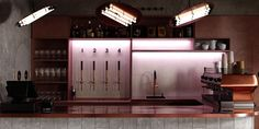 Magnum opus on Behance Bar Lounge, Lounge Areas, Café Design, Restaurants, Decorative Plaster, Red Tiles, Pierre Jeanneret, Glazed Tiles, Brick Facade