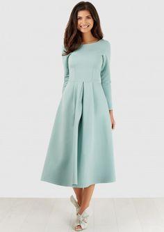 Mint Long Sleeve Pleated Jersey Dress