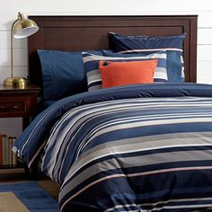 Stand Out Stripe Duvet Cover, Navy, Full/Queen | PBteen