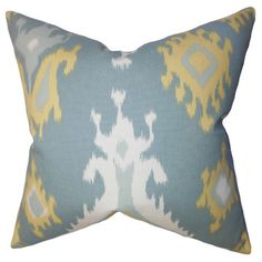 "The Pillow Collection Djuna Ikat Pillow - Color: Light Blue, Size: 18""x18"""