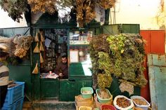 a traditional medicinal plant seller in the medina of Tunis.