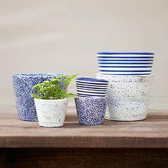 Patterned Pot Trio, Blue