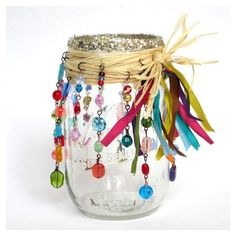 Mason Jar Luminary Beaded Candle Luminary Bohemian Hippie Candle... ❤ liked on Polyvore featuring home, home decor, candles & candleholders, fillers, glass candle stick holders, multi colored candles, glass candle, glass candlestick holders and multi color candles