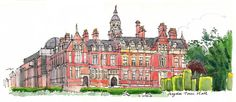 Croydon Town Hall  a print made from my sketchbook by lineandwash