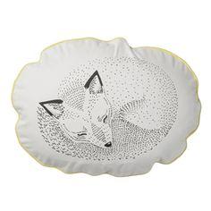 Coussin ovale en coton blanc imprimé renard noir - cocooning Bloomingville