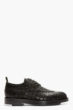 KRISVANASSCHE Black Etched Croc Pattern Oxford Shoes