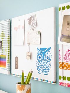 bhg--easy decorating updates with fabric. (here: fabric-covered cork board. Easy Crafts, Diy And Crafts, Easy Diy, Arts And Crafts, Creative Bulletin Boards, Owl Fabric, Fabric Painting, Fabric Remnants, Home Office