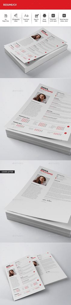 3 Pages Resume / CV V 02 Pinterest Resume cv, Creative resume