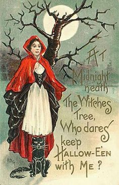 At midnight neath the witches trees, who dares keep Hallowe'en with me?