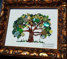 8x10 Button Tree of Life Button Art with Swarovski by BellePapiers, $154.00