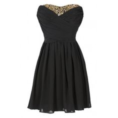 Lily Boutique Dress To Impress Strapless Chiffon Dress in Black/Gold - WHAT'S NEW Lily Boutique