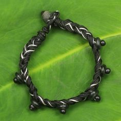 Novica Handcrafted Recycled Glass Sese Wood 'Lagos Braid' Bracelet