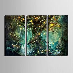 LED canvas-taide Maisema Moderni / European Style,3 paneeli Kanvas Pystysuora Tulosta Art Wall Decor For Kodinsisustus 5091596 2017 – hintaan €116.61