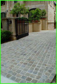 Antique Sandstone Cobblestone pavers for driveway. - Antique Sandstone Cobblestone pavers for driveway. Authentic reclaimed antique granite or - Stone Patio Designs, Driveway Tiles, Driveway, Patio Design, Front Garden, Patio Tiles, Exterior, Driveway Entrance