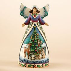 ✿Angel Figurine✿ Christmas For All, Great And Small-Angel With Woodland Animals Figurine