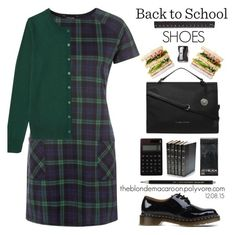 12.08.15 by theblondemacaroon on Polyvore featuring polyvore, fashion, style, Uniqlo, Dr. Martens, Fiorelli, Decorative Leather Books, Monkey Business and BackToSchool